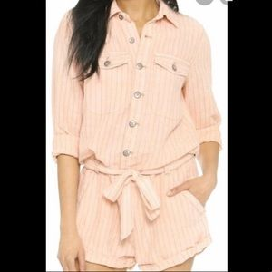 Free People Striped Button up Romper